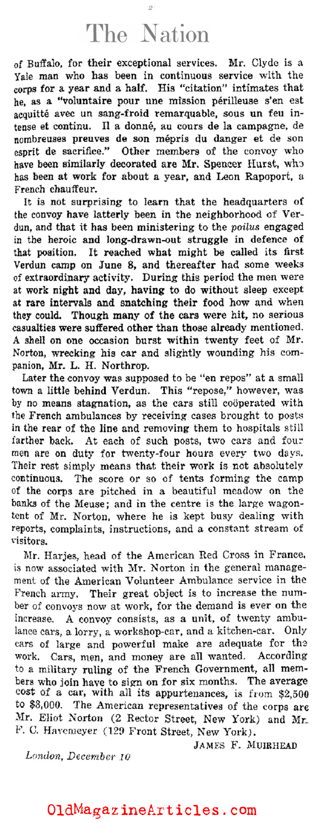 The American Volunteer Ambulance Corps (The Nation, 1917)