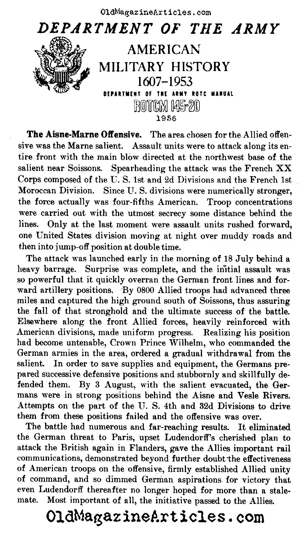 Summing Up the Aisne-Marne Offensive (Dept. of the Army, 1956)