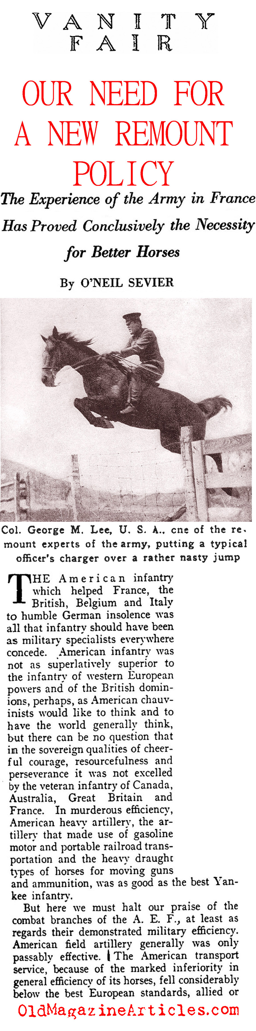 The Case for Cavalry (Vanity Fair Magazine, 1919)