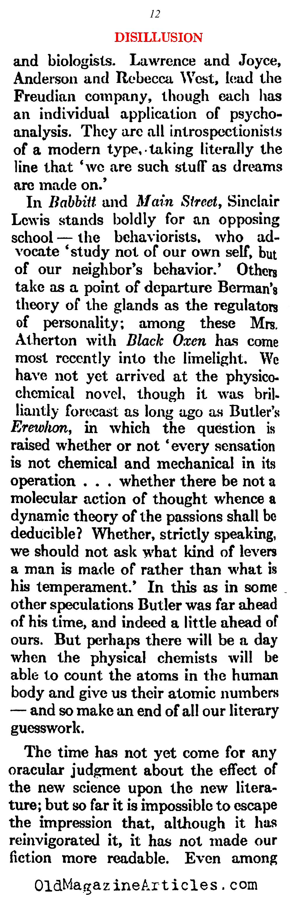 The Pessimism That Followed W.W. I   (Atlantic Monthly, 1923)