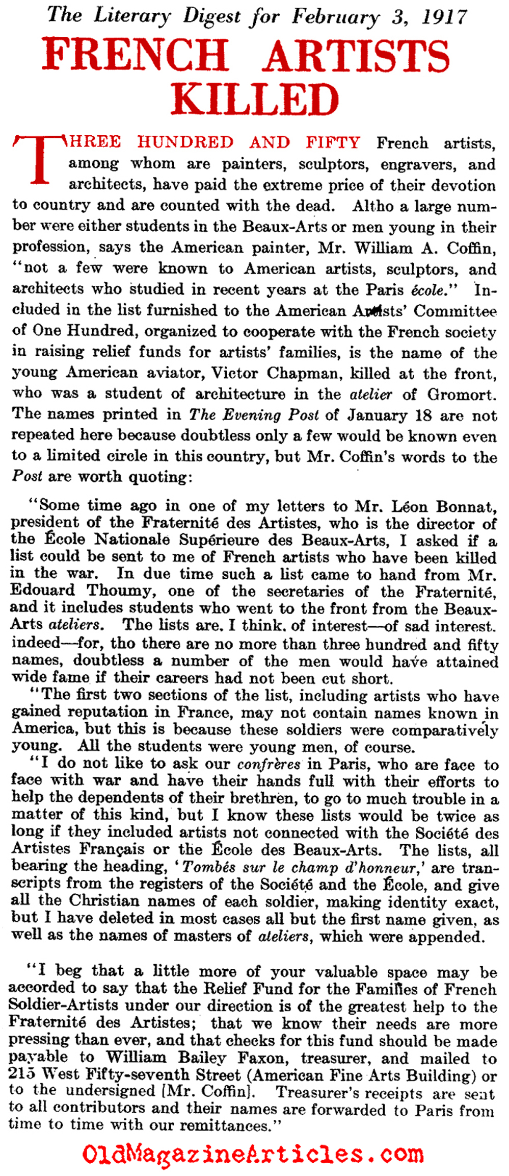 Butcher Bill Paid by the French Arts Community (Literary Digest, 1917)