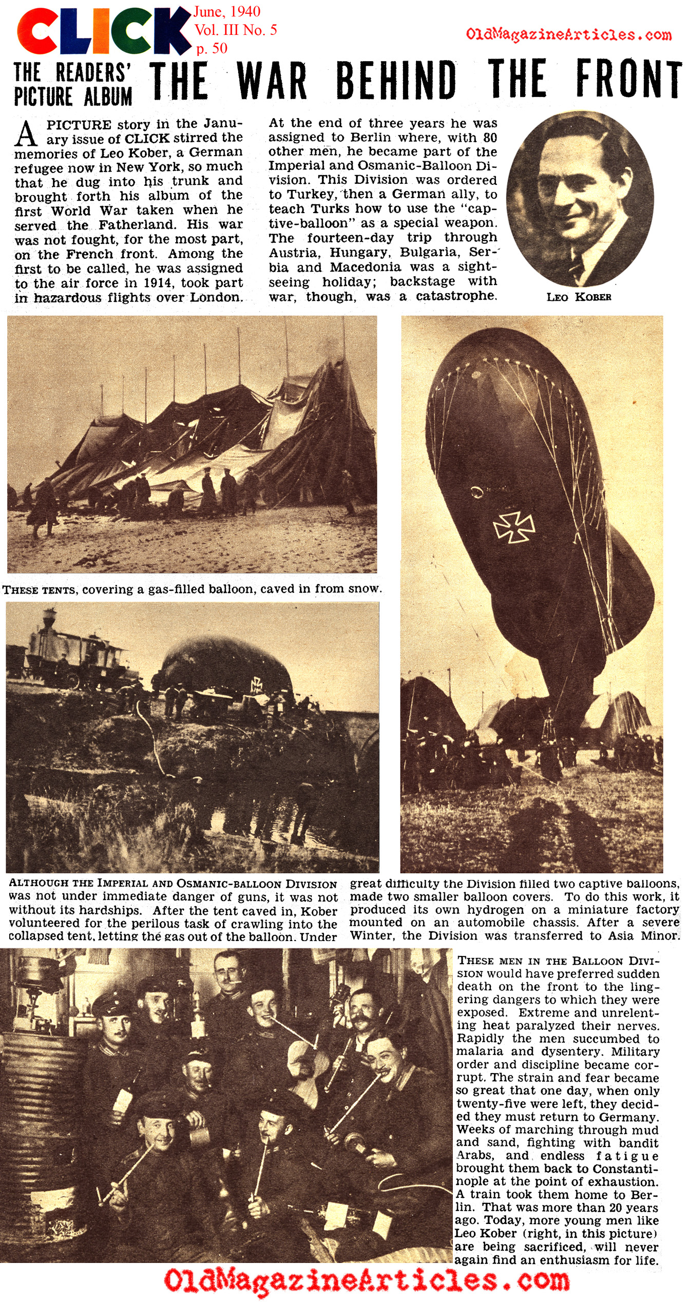 W.W. I Memories of the Imperial and Osmanic-Balloon Division (Click Magazine, 1940)