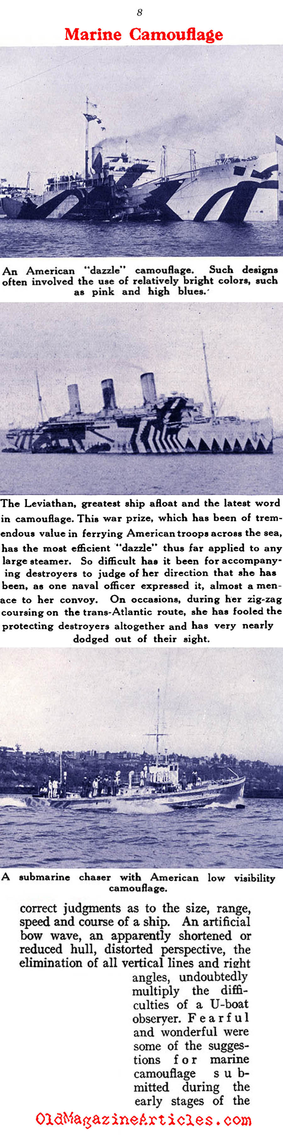 Naval Camouflage of W.W. I (Sea Power Magazine, 1919)