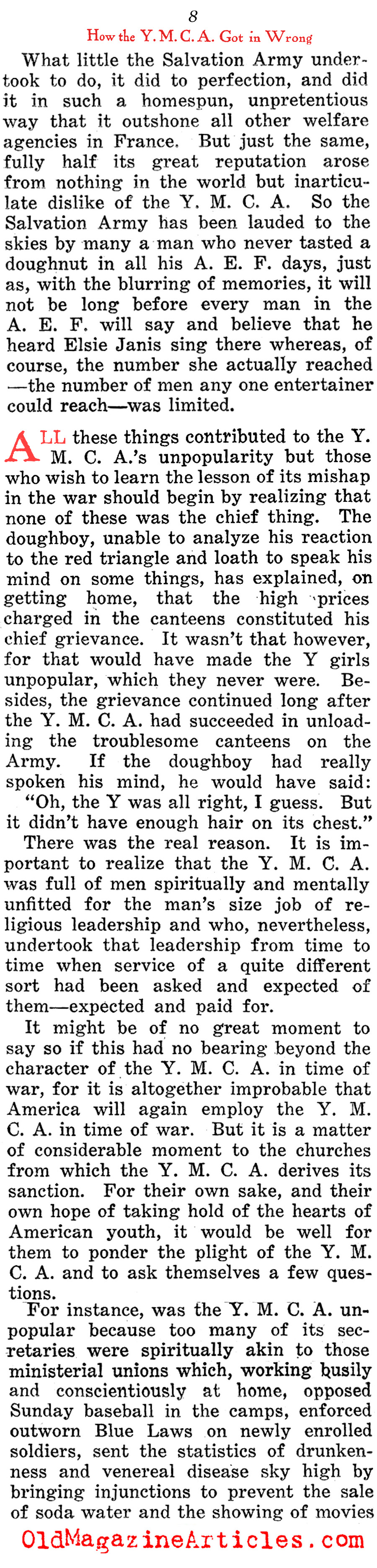 How the YMCA Got it Wrong (The Home Sector, 1919)
