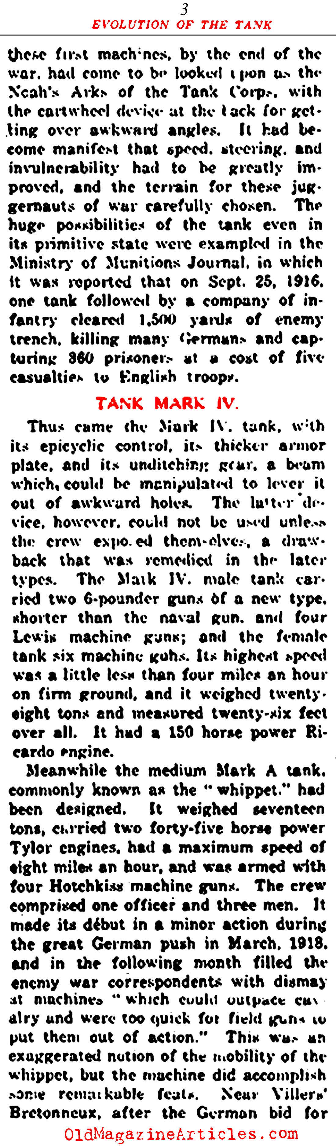 The Evolution of the Tank (New York Times, 1919)