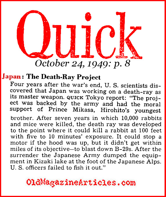 The Japanese Death Ray? (Quick Magazine, 1949)