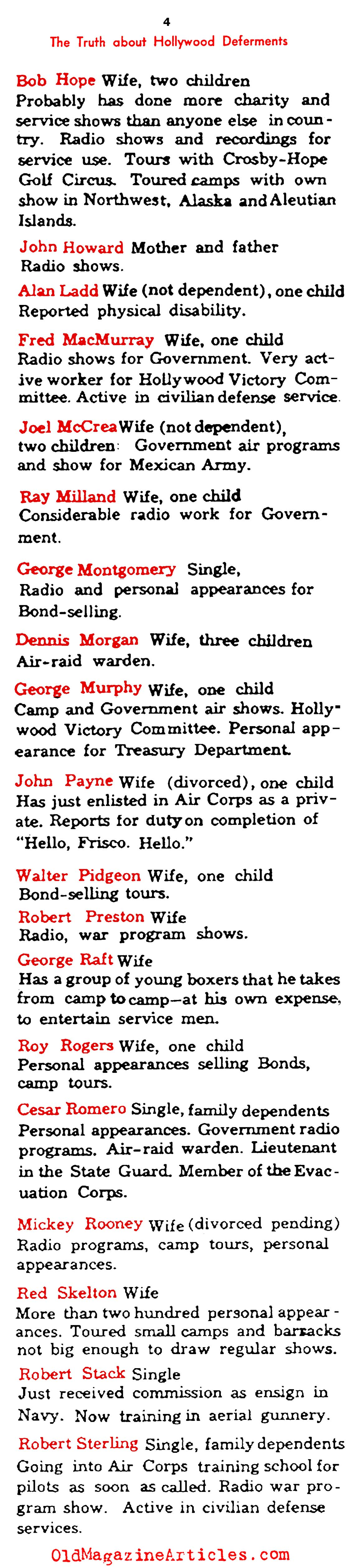Who in Hollywood Received Draft Deferments (Photoplay Magazine, 1942)