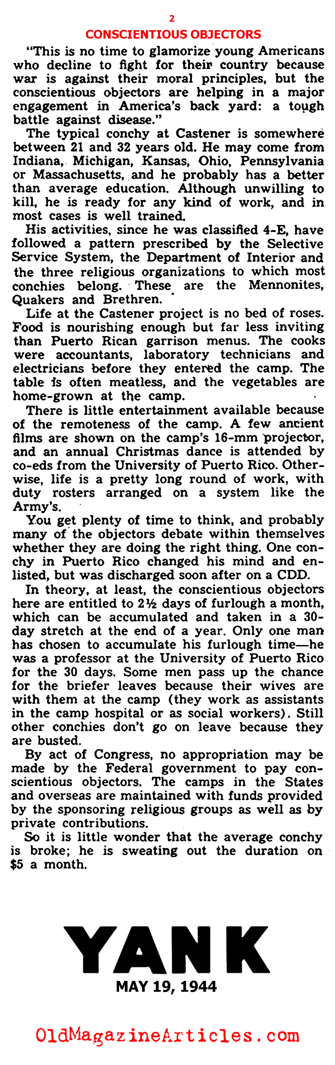 Conscientious Objectors (Yank Magazine, 1944)