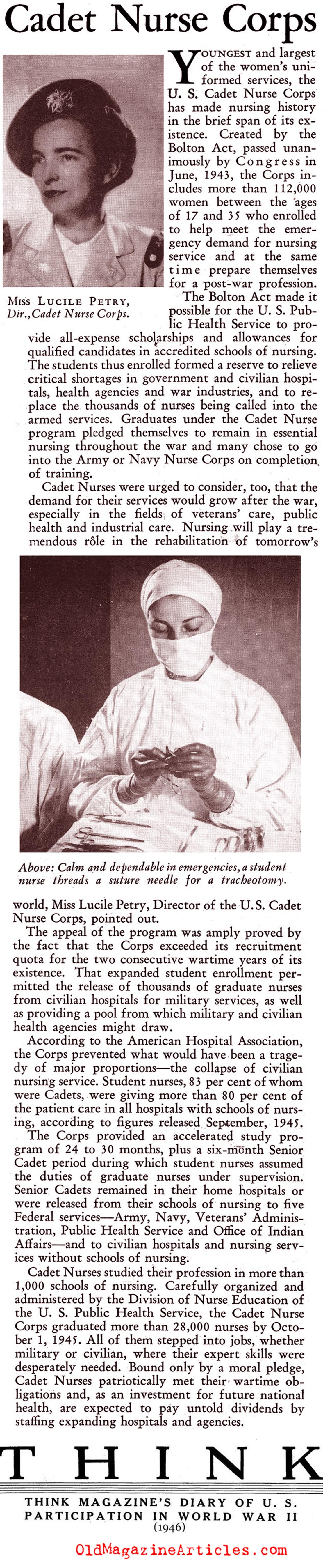 The Cadet Nurse Corps (Think Magazine, 1946)