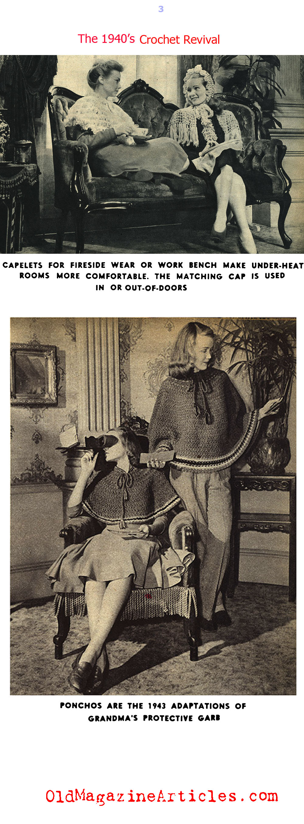 Crochet Made a Come-Back on the W.W. II Fashion Front (Click Magazine, 1943)