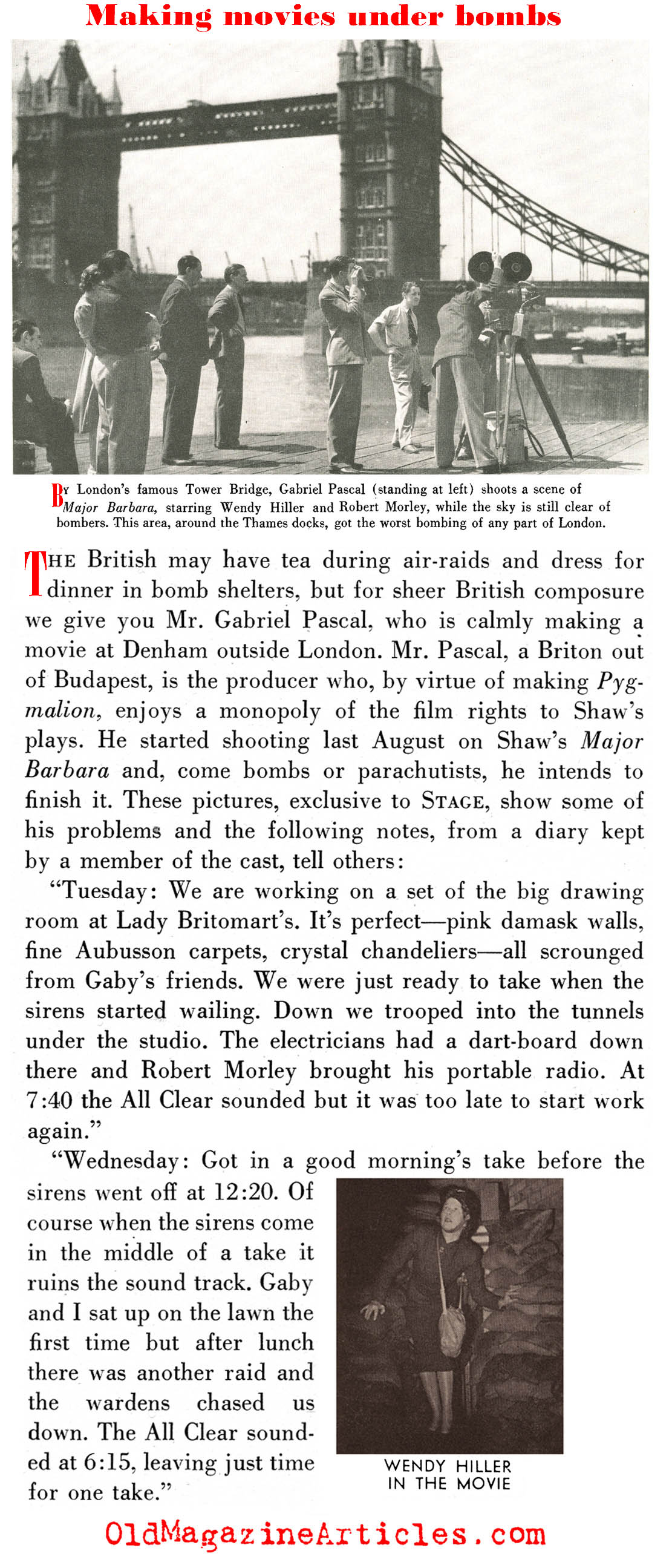 Shooting Scenes Between Air Raids (Stage Magazine, 1940)