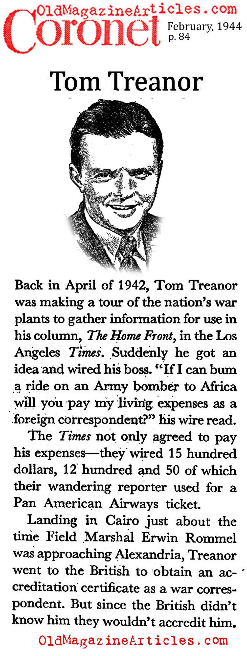 Tom Treanor of the L.A. Times (Coronet Magazine, 1944)