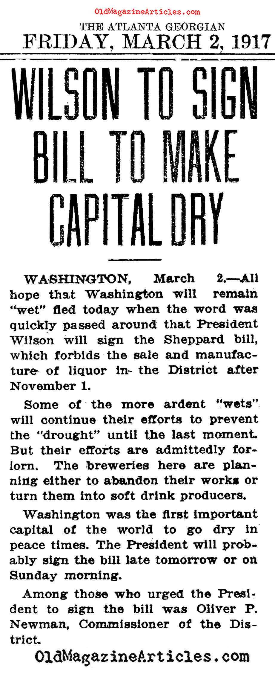 Prohibition Comes to Washington, D.C. (The Atlanta Georgian, 1917)