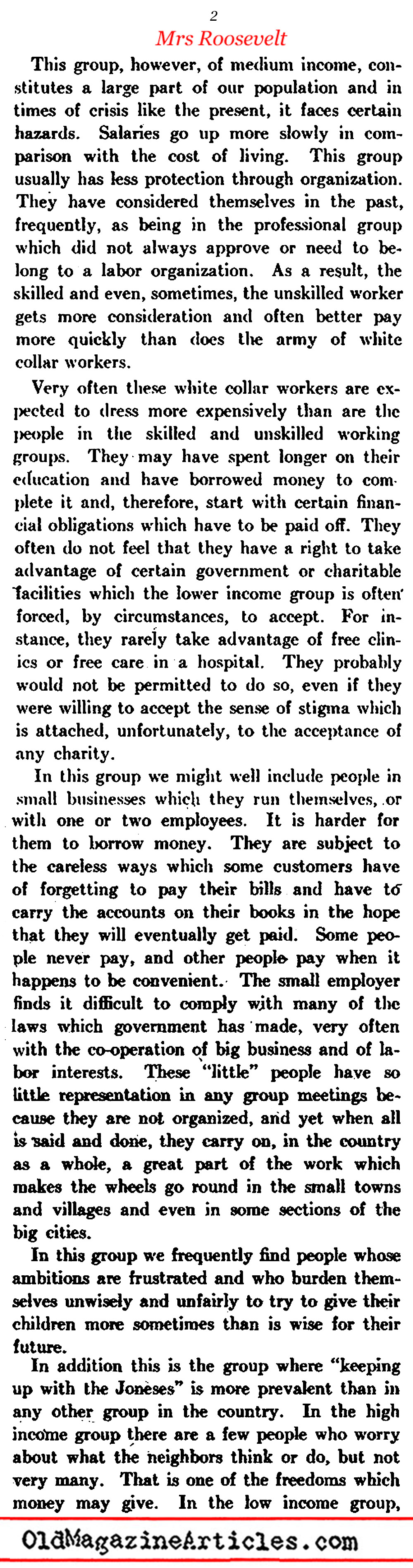''A Message to the White Collar Class'' (Pic Magazine, 1941)