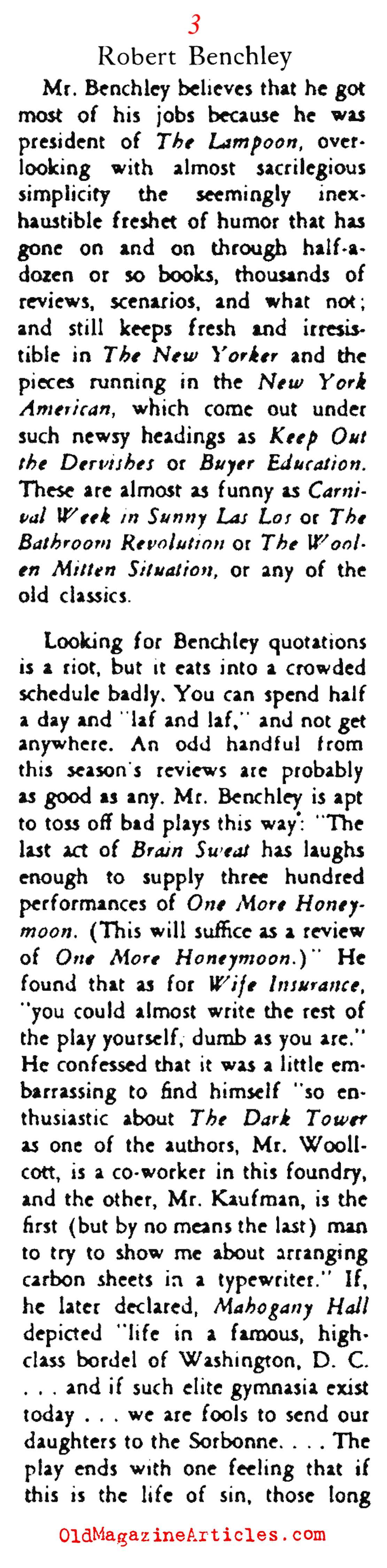 ... CRITIC ROBERT BENCHLEY - Article Preview - Old Magazine Articles