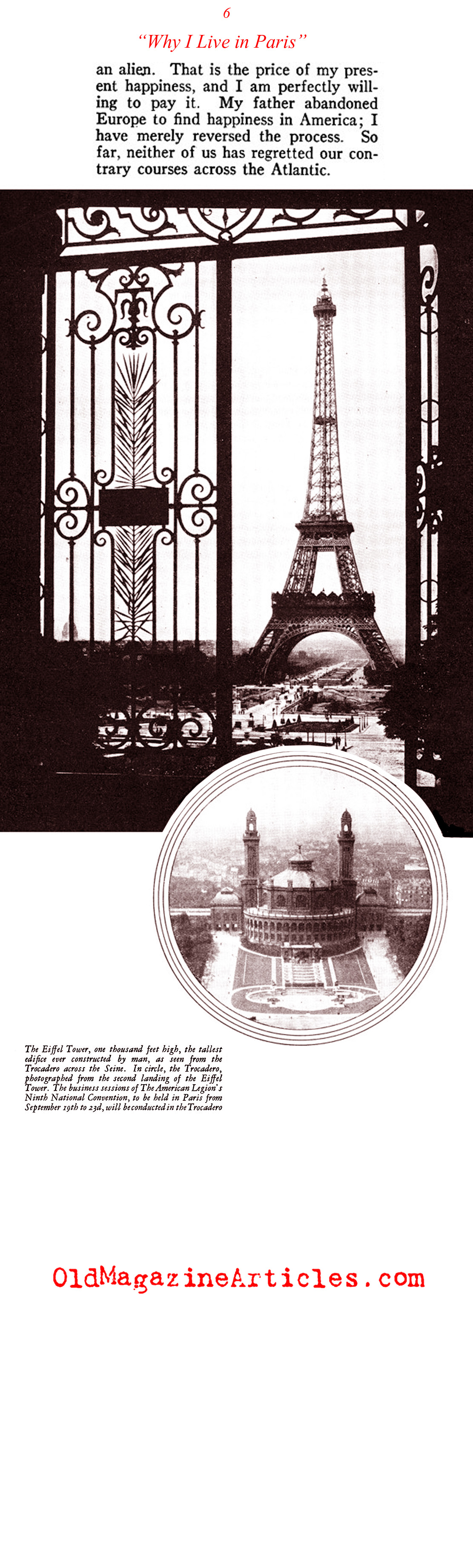 ''Why I Live in Paris'' by a Former American Soldier (American Legion Monthly, 1927)