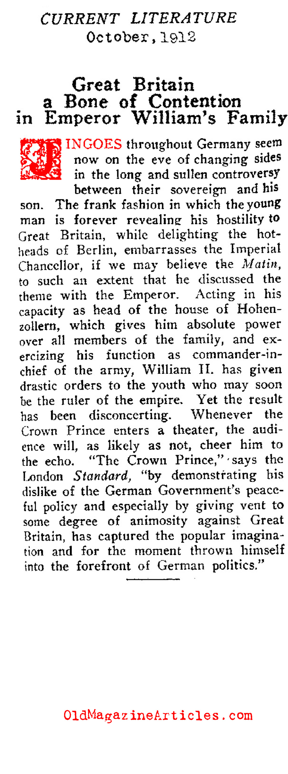 Father and Son Discord: Wilhelm II and the Crown Prince (Current Literature, 1912)