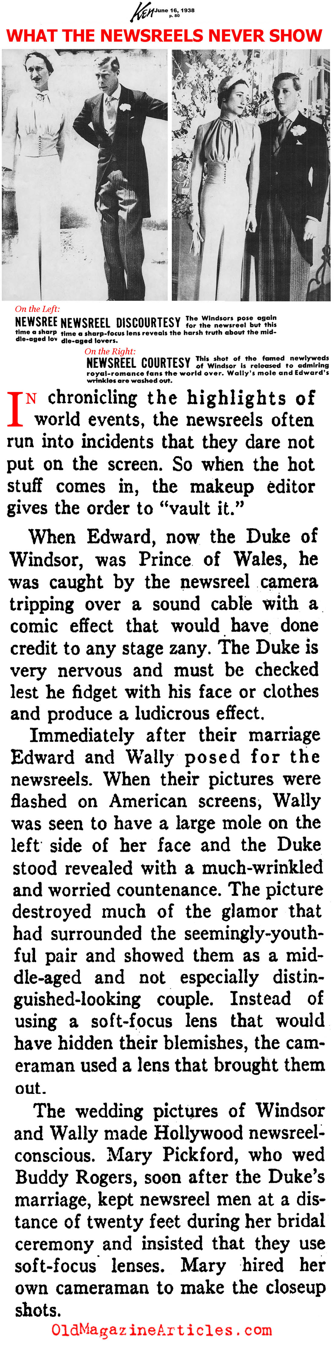 Re-Touching the Pictures of the Duke and Duchess of Windsor <BR>(Ken Magazine, 1938)