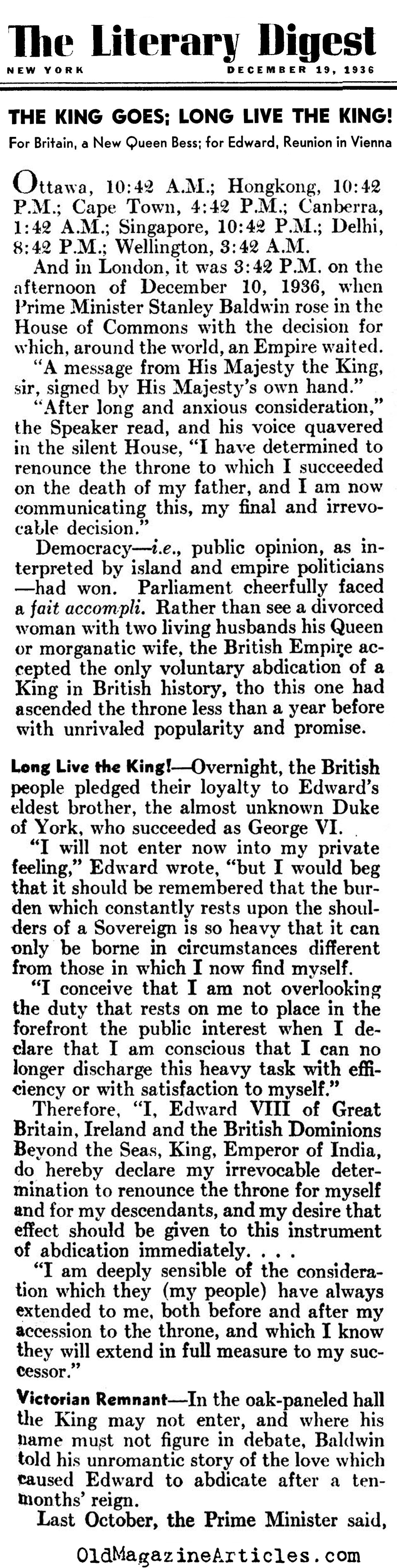 The Abdication (Literary Digest, 1936)