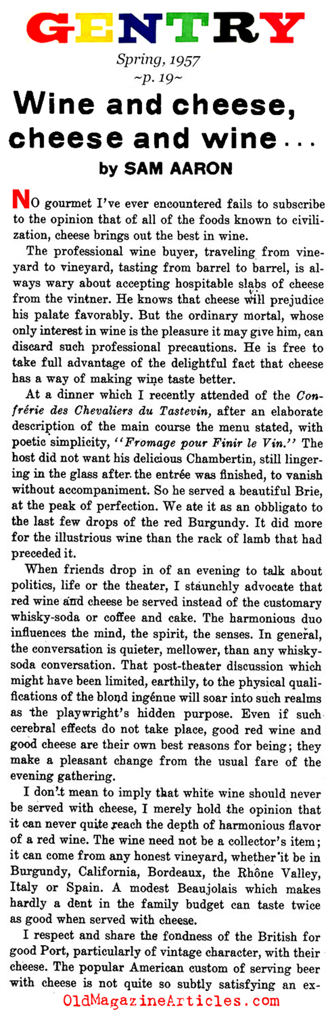 Selecting the Wine and Cheese (Gentry Magazine, 1957)