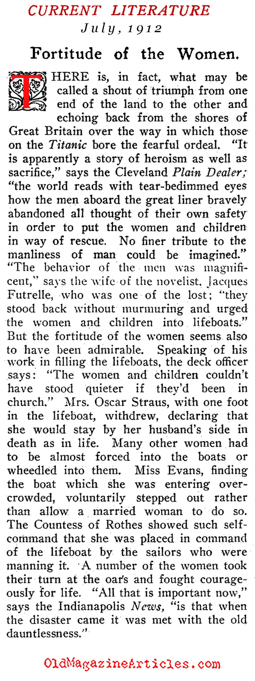 The Bravery of the Women  (Current Literature Magazine, 1912)