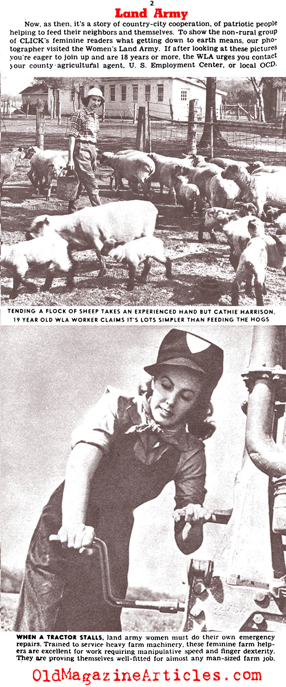 The Women's Land Army in World War Two (Click Magazine, 1943)