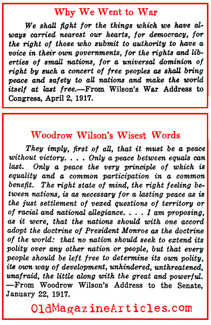 Woodrow Wilson on the War and the Peace (from his Speeches)