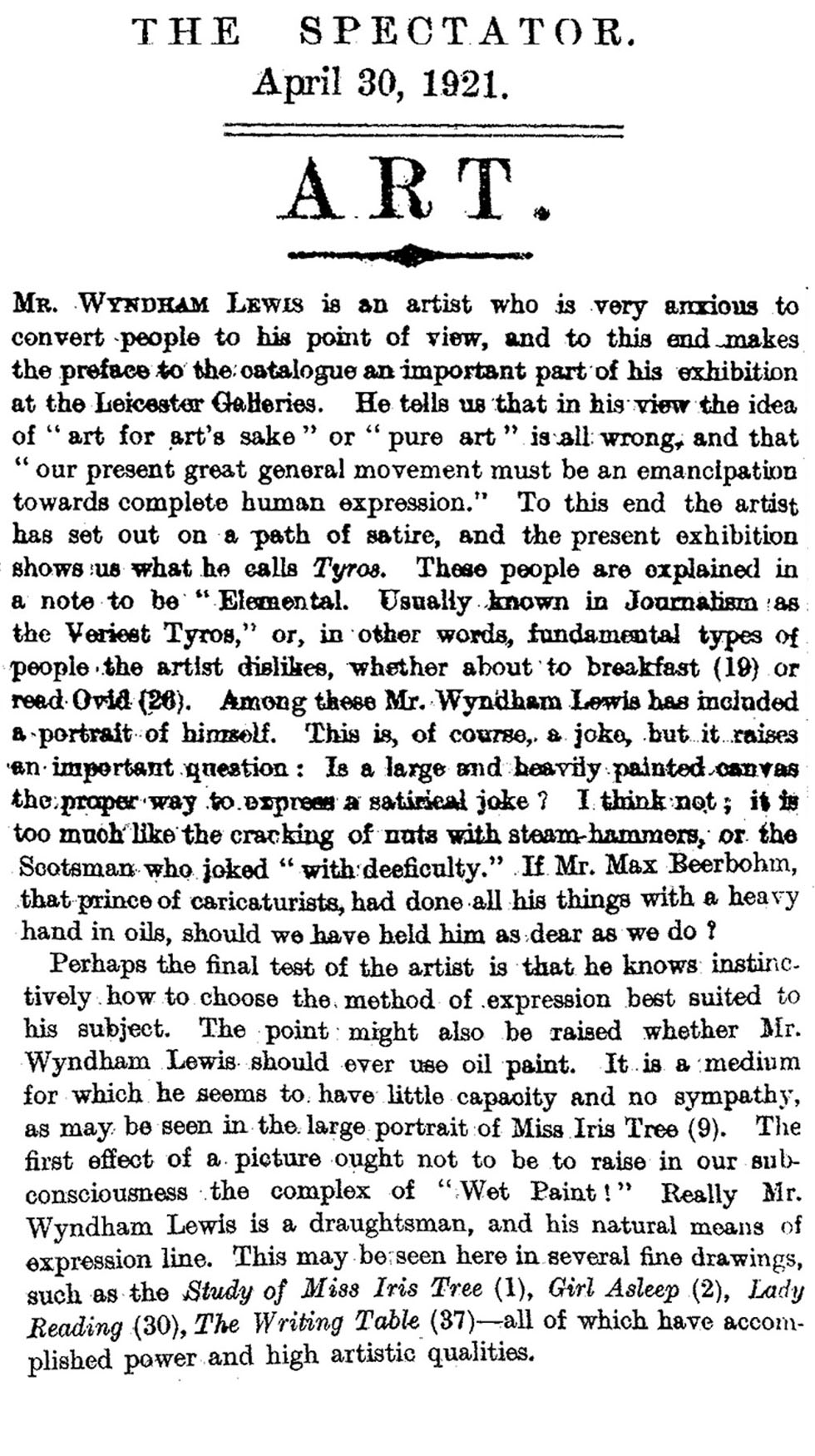 Wyndham Lewis Gets Panned (The Spectator, 1921)