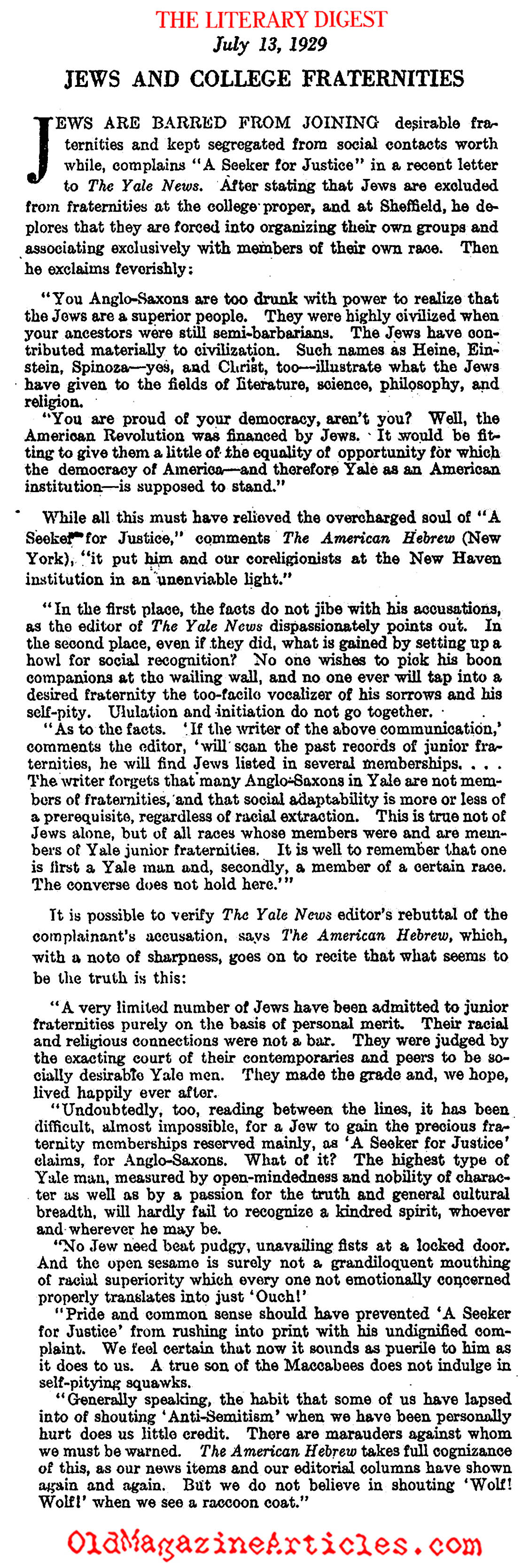 Jews Barred from Fraternities at Yale (Literary Digest, 1929)
