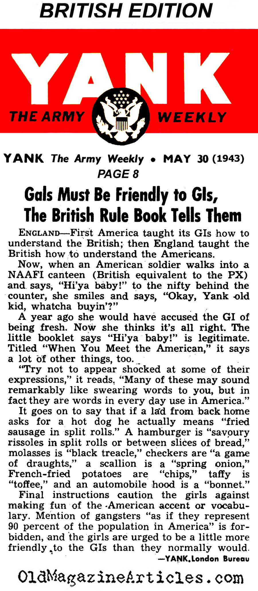 British Women Instructed to Tolerate American Men (Yank Magazine, 1943)