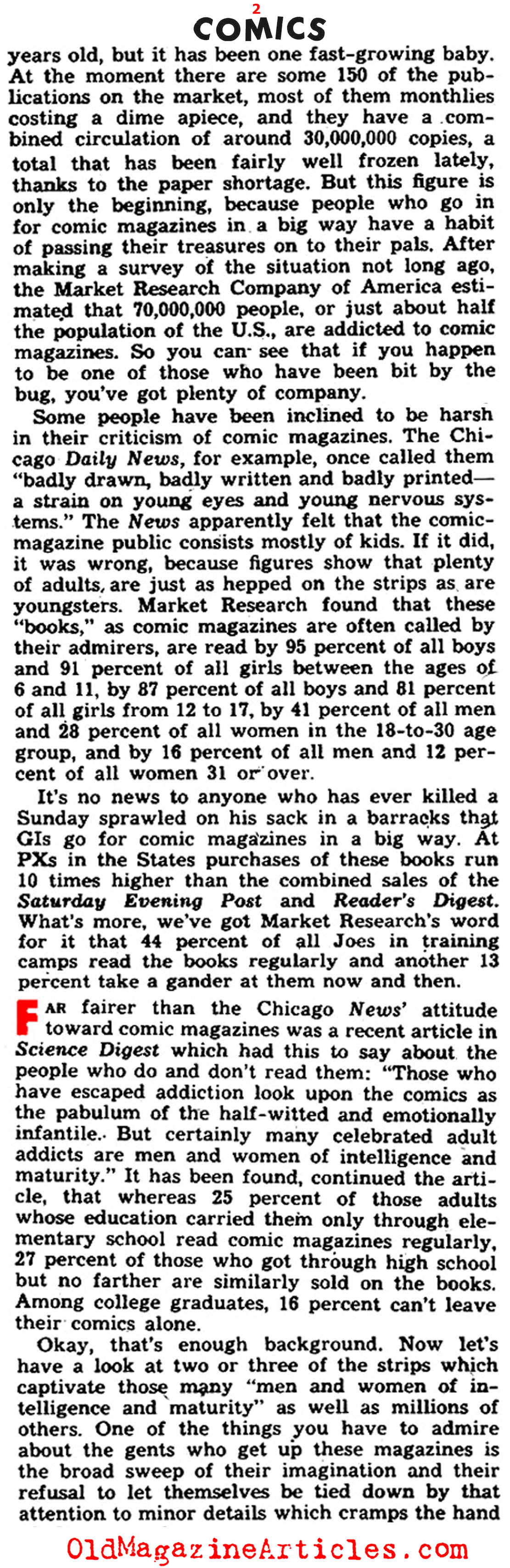 The Comic Book Industry: Tweleve Years Old in 1945 (Yank Magazine, 1945)