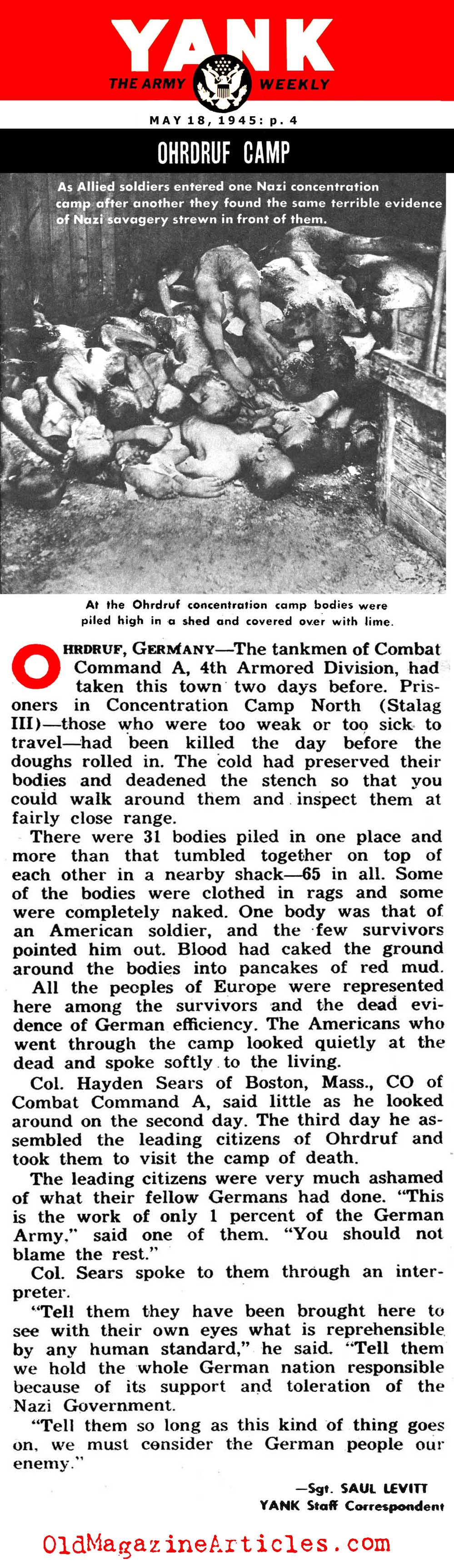 An American Corpse at Ohrdruf Concentration Camp (Yank Magazine, 1945)
