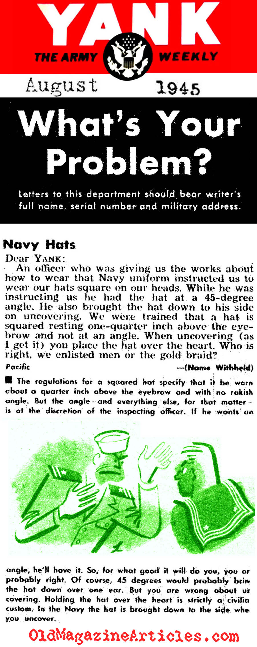 Wearing the U. S. Navy Sailor Hat (Yank, 1945)