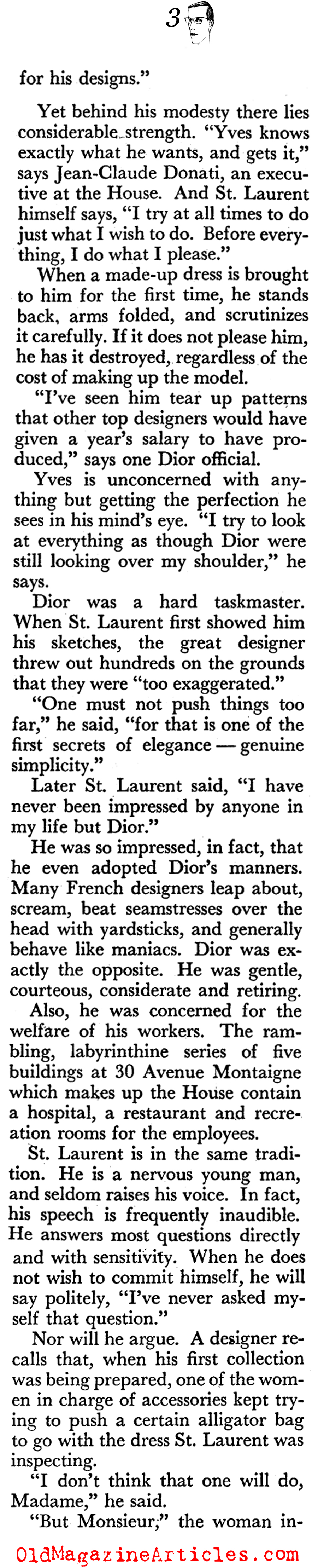 Yves Saint Laurent Takes Over the House of Dior (Coronet Magazine, 1958)