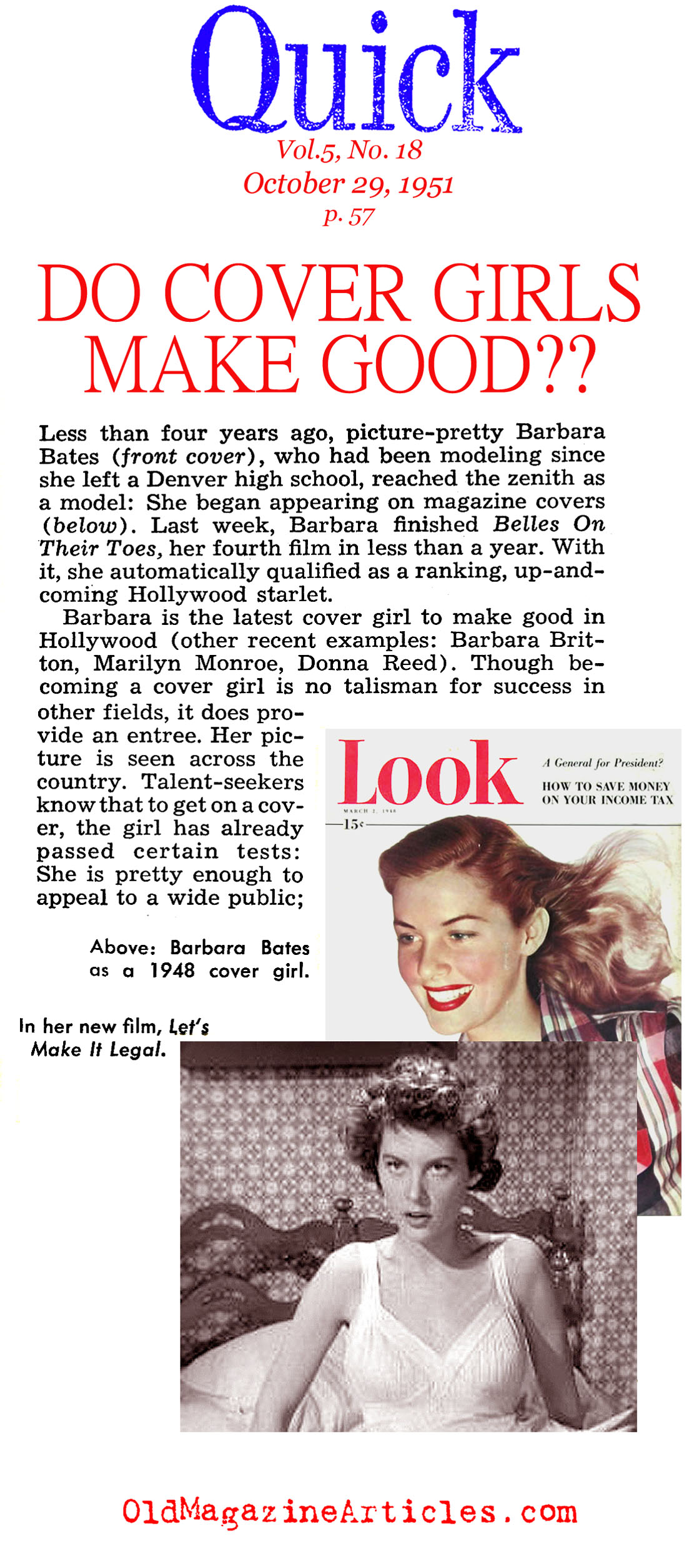 The ''Actress/Models'' (Quick Magazine, 1951)