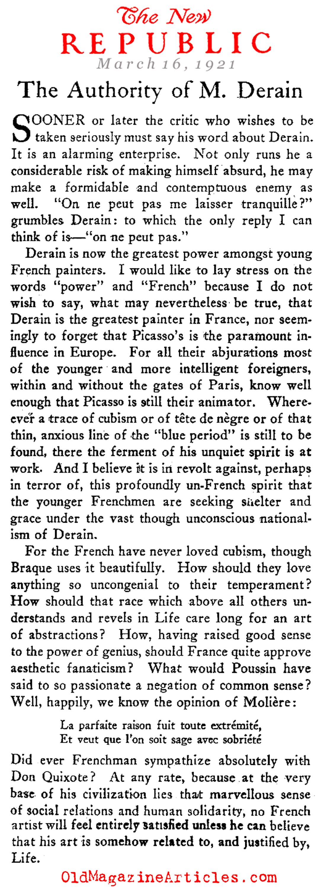 Clive Bell on Andre Derain  (The New Republic, 1921)