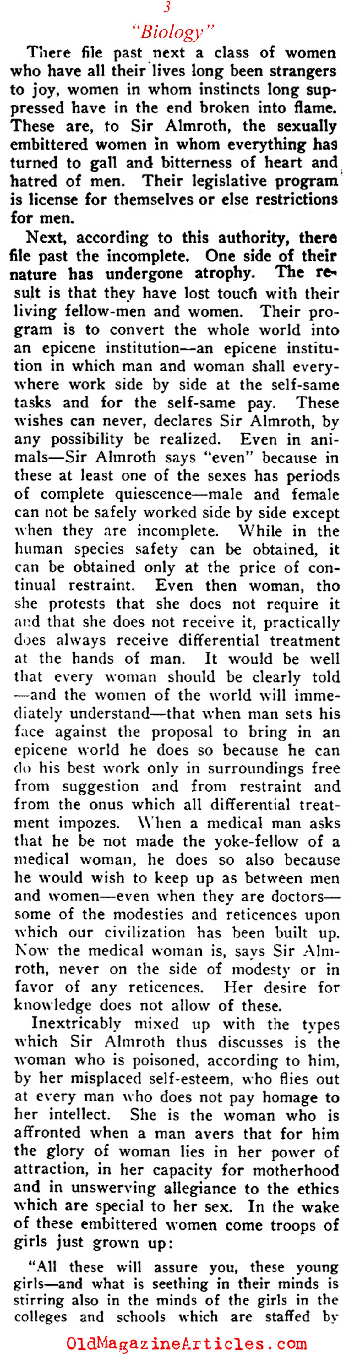 Scientific Proof  That Women Should Not Be Allowed to Vote (Current Opinion, 1912)