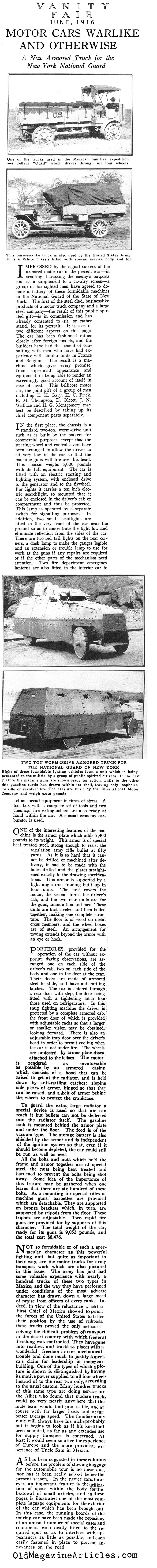 American Trucks & Armored Cars  (Vanity Fair Magazine, 1916)