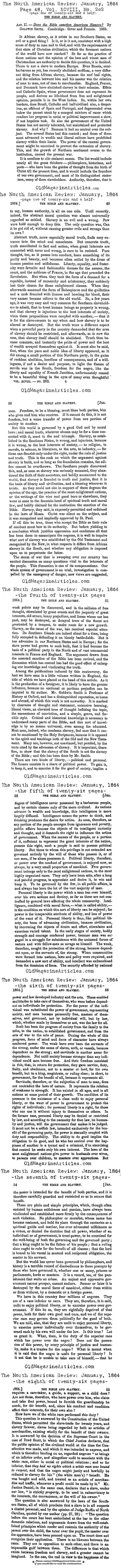 The Bible and Slavery   (The North American Review, 1864)