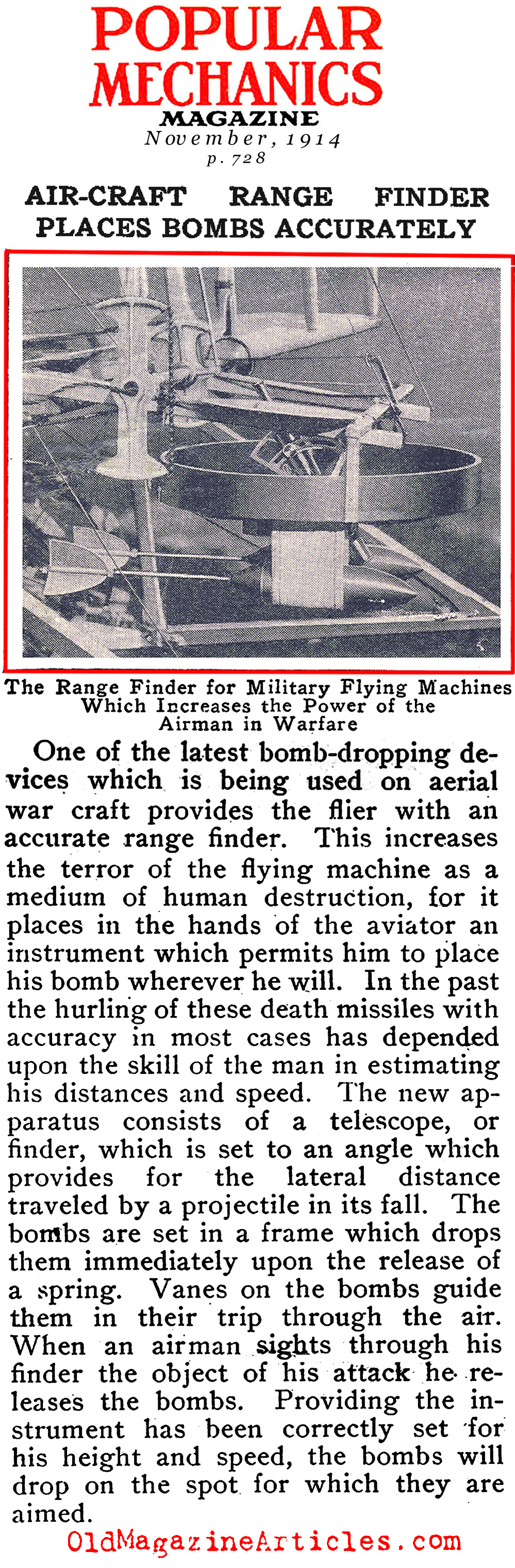 One of the First Bomb Sights (Popular Mechanics, 1914)