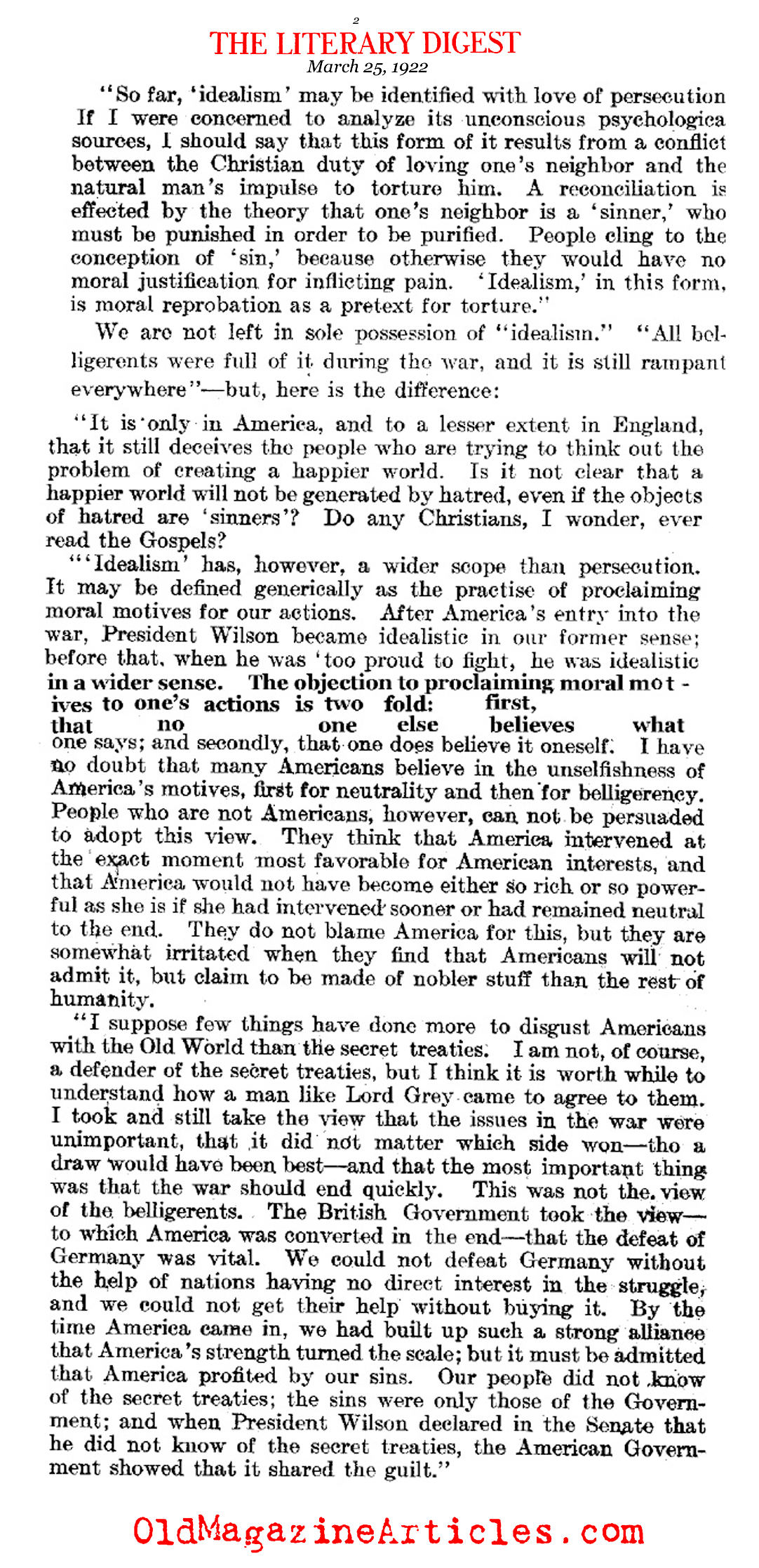 Bertrand Russell on American Idealism  (The Literary Digest, 1922)