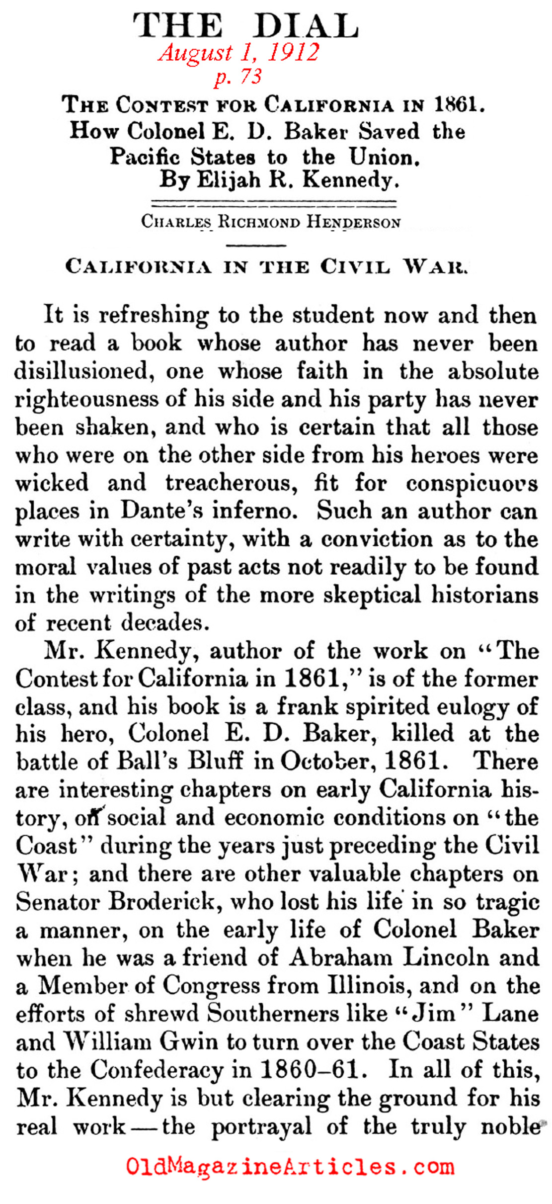 The Struggle for California  (The Dial Magazine, 1912)