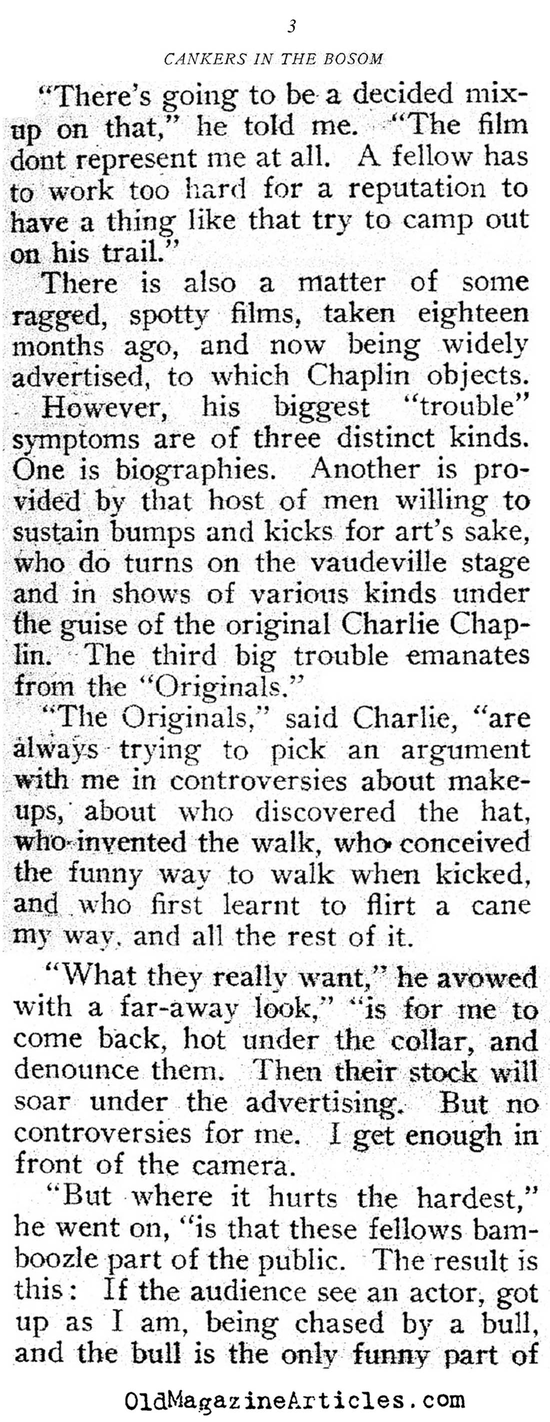 Charlie Chaplin and His Imposters  (Motion Picture Magazine, 1916)