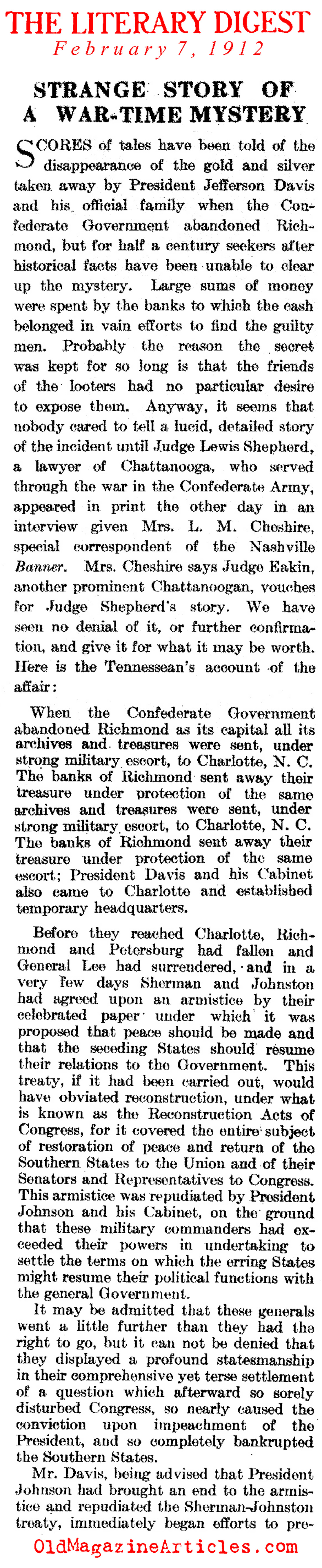 The Missing Confederate Gold (Literary Digest, 1912)
