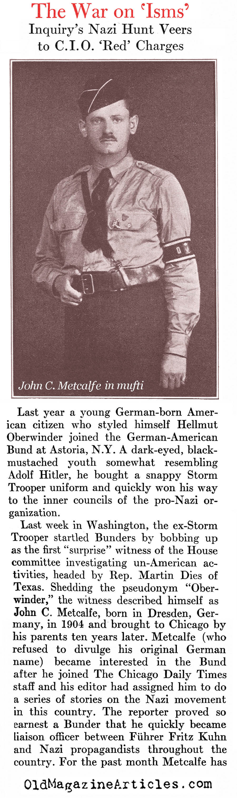 The Faux Nazi (Newsweek Magazine, 1938)