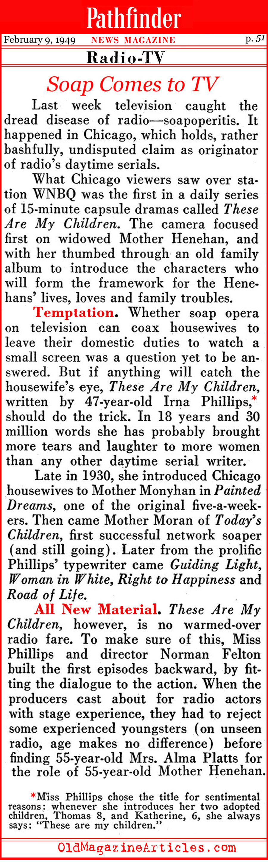 Soap Operas Come to Television (Pathfinder Magazine, 1949)