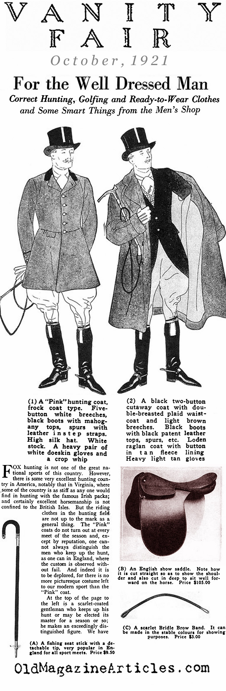Clothing for Fox Hunters and Wall Streeters  (Vanity Fair Magazine, 1921)
