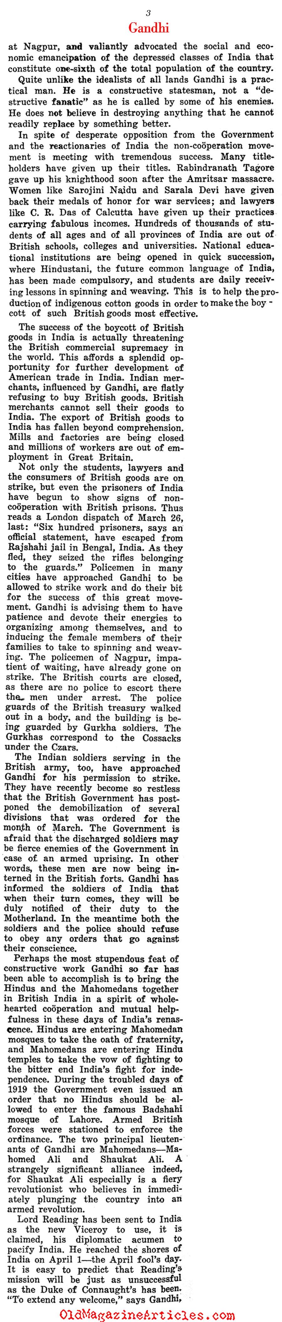 A Profile of Mahatma Gandhi (The Independent, 1921)