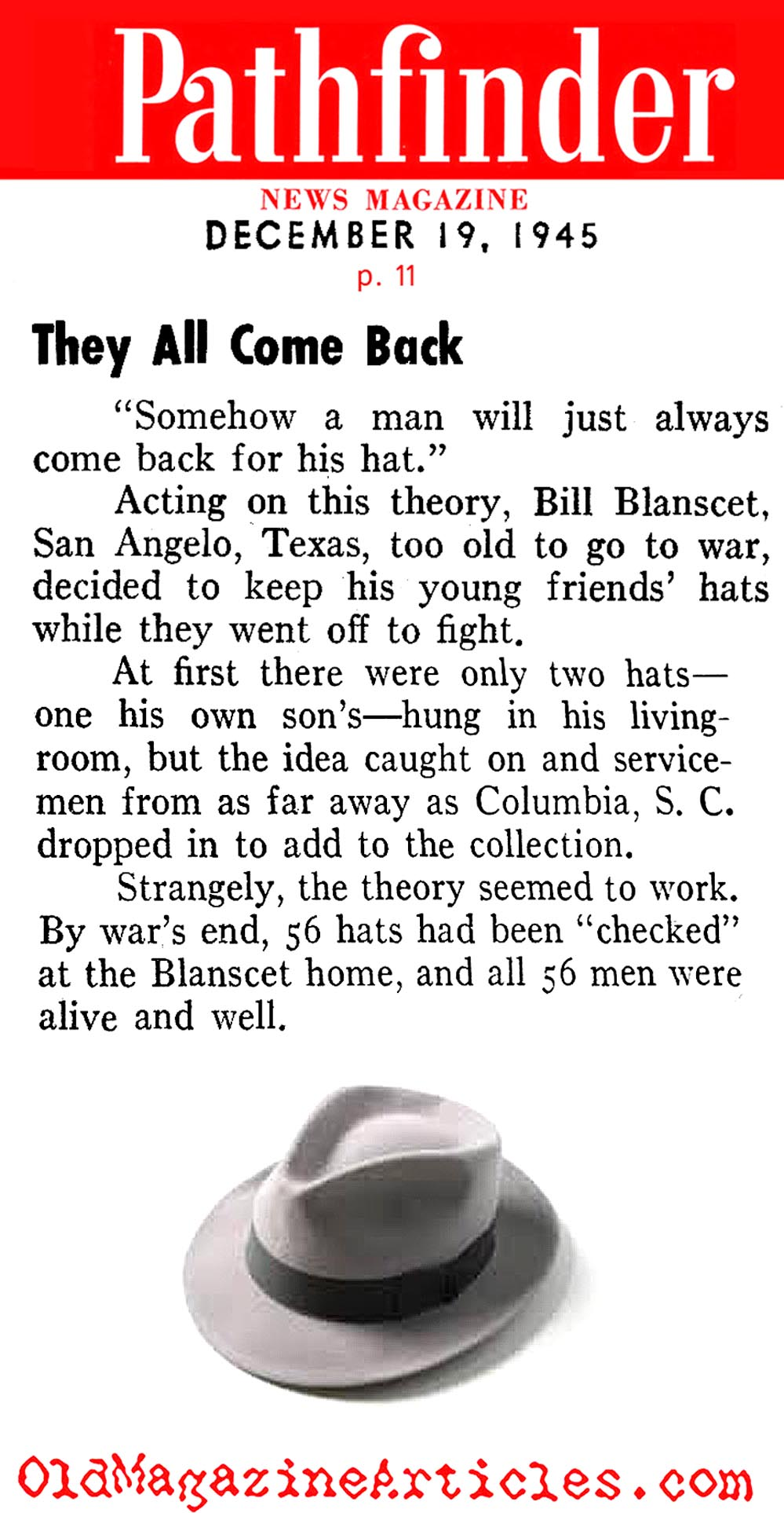 The Hat Superstition that was Reliable... (Pathfinder Magazine, 1945)
