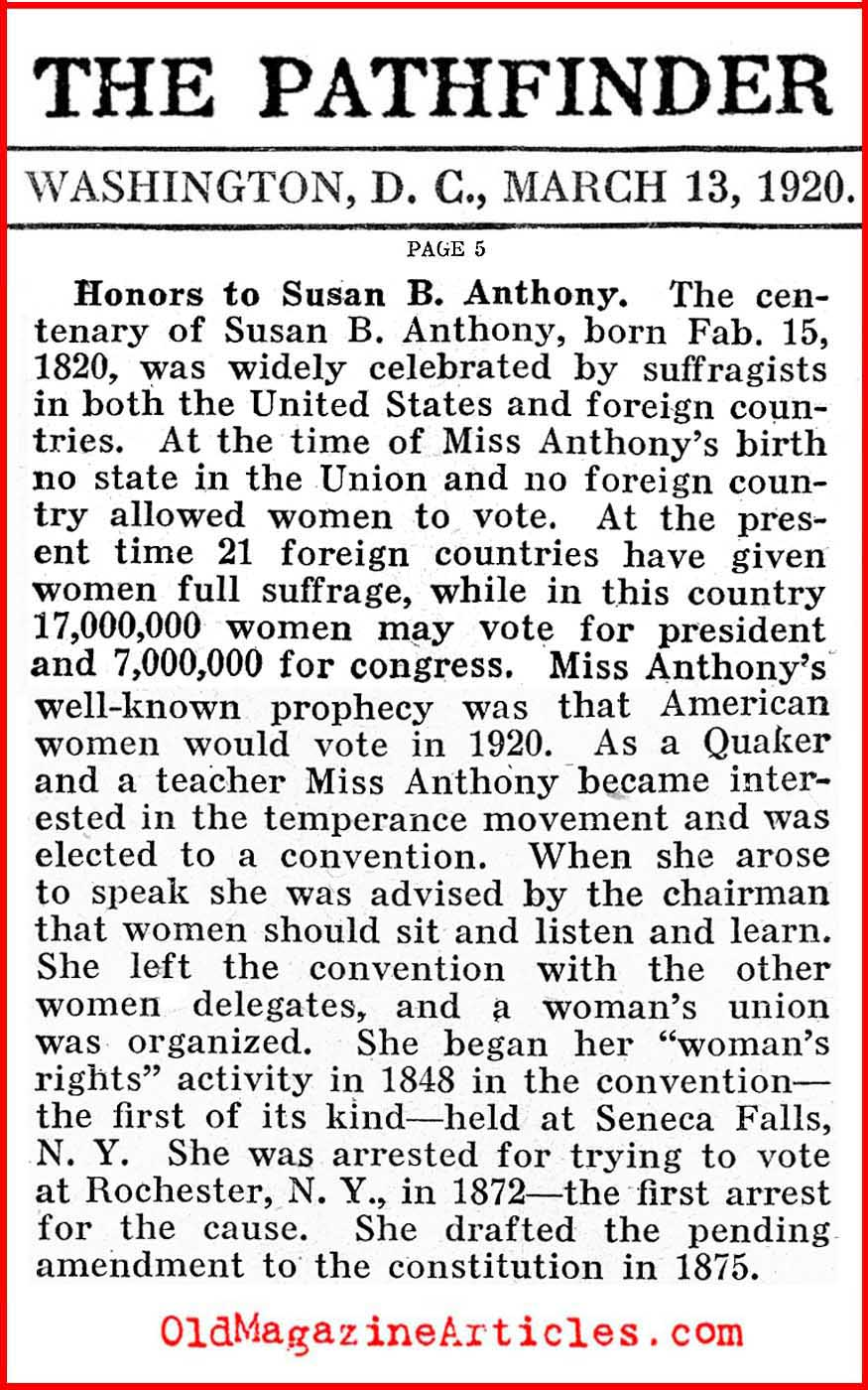 A Salute to Susan B. Anthony (Pathfinder Magazine, 1920)